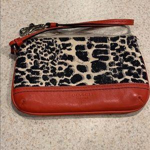 Coach animal print wristlet/wallet